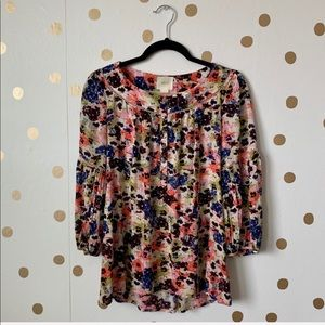 Anthropologie Maeve Pansy Field Floral Peasant Top